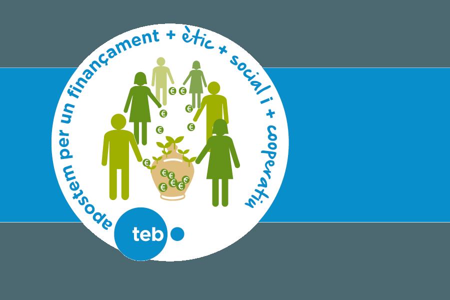 """Logotip de """"Compromisos TEB"""". Homes i dones al voltant d'una guardiola posant-hi diners. L'eslògan: """"Apostam per un finançament més ètic + social + cooperatiu"""