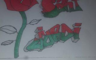 Borja Depares hi ha dibuixat un Sant Jordi molt modern.
