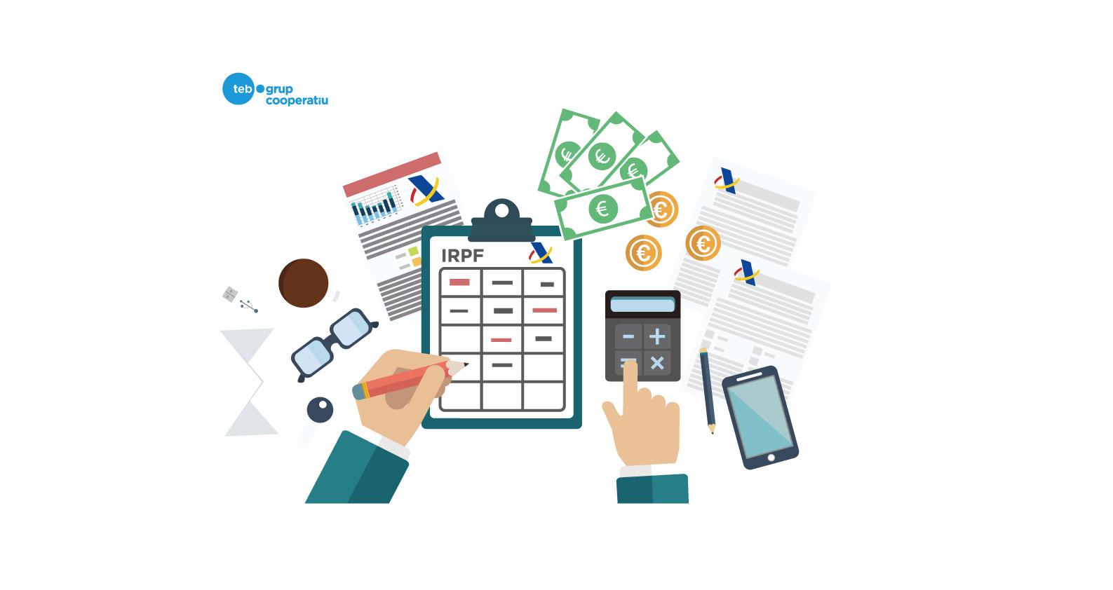 Es tracta d'una imatge decorativa. Una il·lustració d'una persona fent càlculs amb uns papers de la renda.