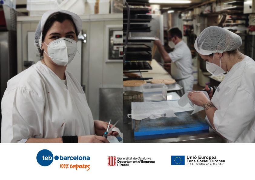 Imatge de dues noies en pràctiques. Logotips de TEB Barcelona, Departament de treball i Fons social Europeu