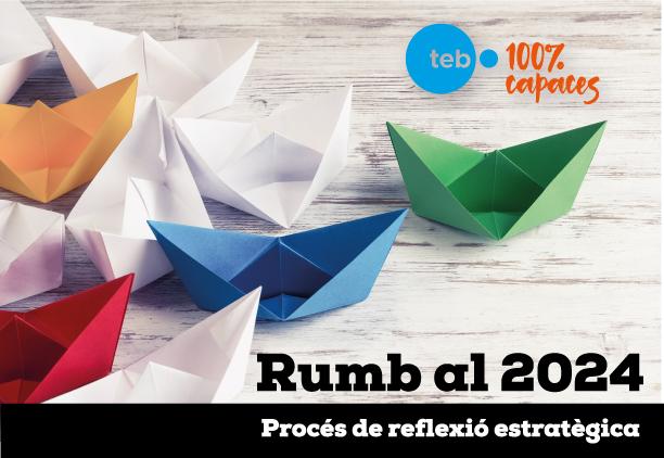 """Il·lustració amb tres vaixells que representen """"Rumb al 2024"""" """"Rumb al 2024"""" per elaborar el nou Pla Estratègic del Grup"""